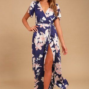 Lulus Azalea Regalia Blue Floral Wrap Maxi Dress